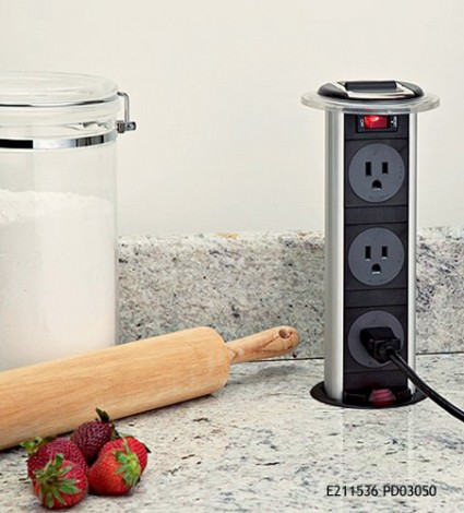 Pop-up outlets on kitchen counter