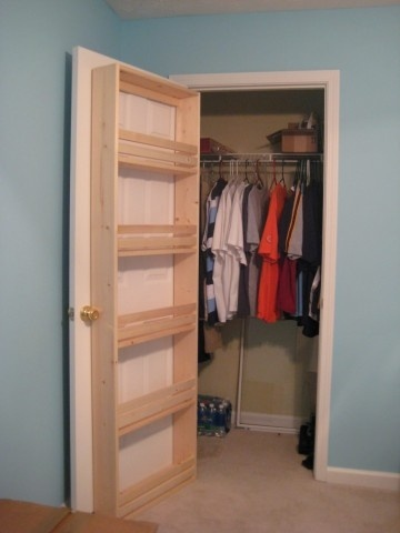 Shelves inside closet doors