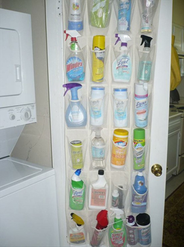 Hanging a shoe organizer for cleaning supplies
