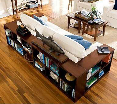 Bookshelves wrapped around couch