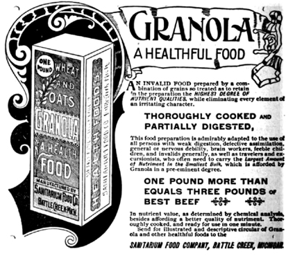 An 1893 ad for Granola, sold by Dr. Kellogg's Sanitarium Food Co.