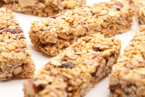 Several Granola Bars Isolated on a White Background with Narrow Depth of Field.