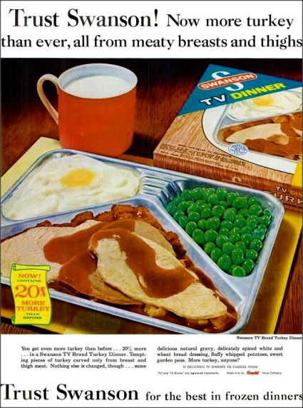 Swanson TV Dinner ad from 1963 (via Flickr/ blakta2)
